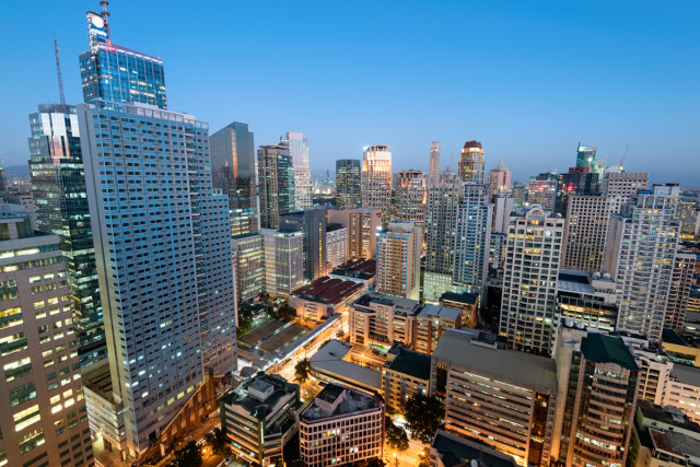 Makati City Skyline and night. Makati City is one of the most developed business district of Metro Manila and the entire Philippines.