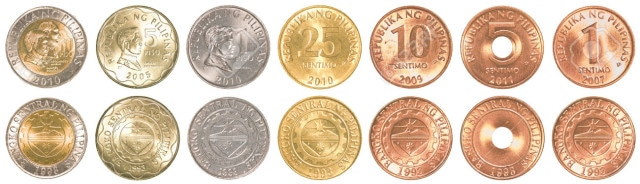 philippines peso coins collection set isolated on white background